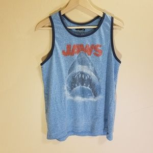 JAWS blue graphic tank top